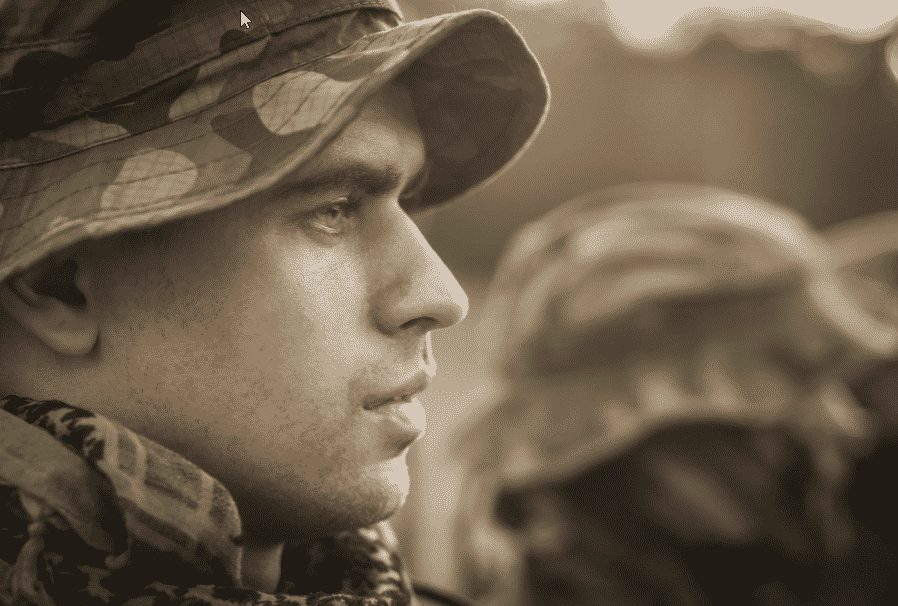 A soldiers face - post traumatic stress disorder